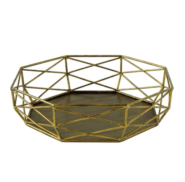 Gold geometric tray