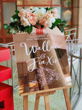 Rose gold mirror welcome signage with customised words