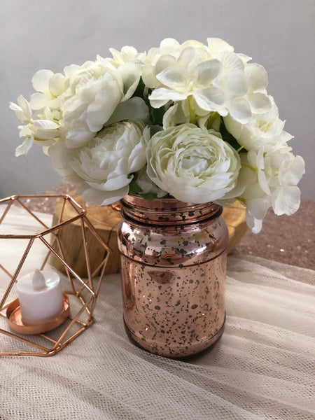 Rose gold mercury mason jar