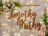 Wooden couple name signage