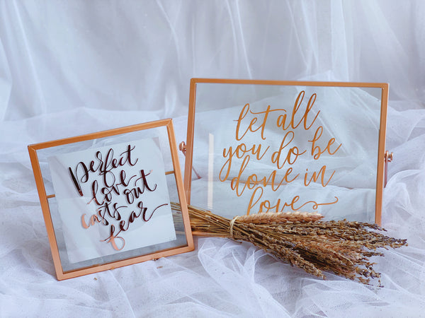 Rose gold frames with love quote