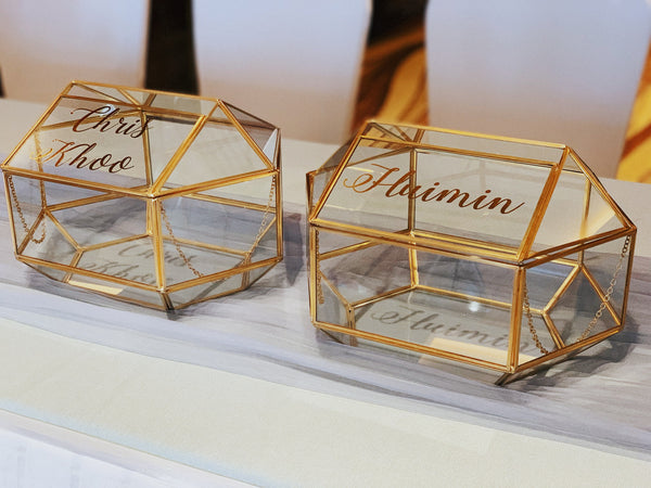 Gold geometric glass angbao/ card box