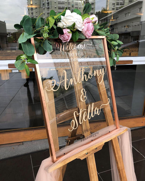 Rose gold frame welcome signage with customised words