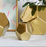 Gold hexagon vases