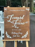 Wooden welcome signage with customised words
