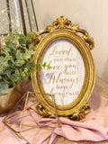 Small victorian frames with love quote
