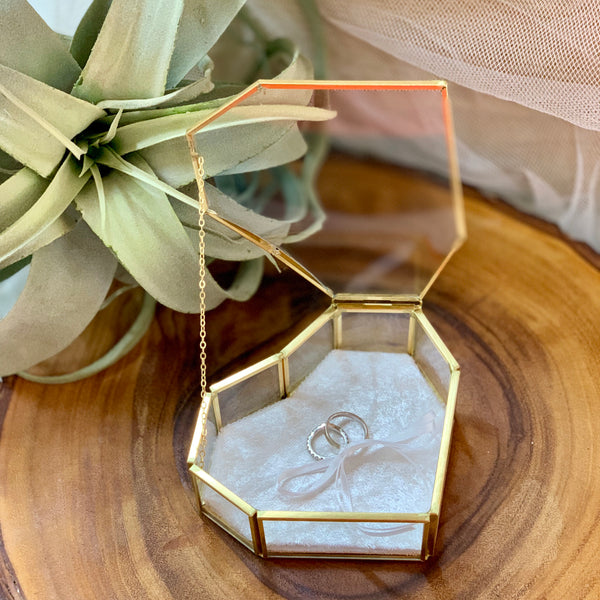 Gold heart shaped ring box