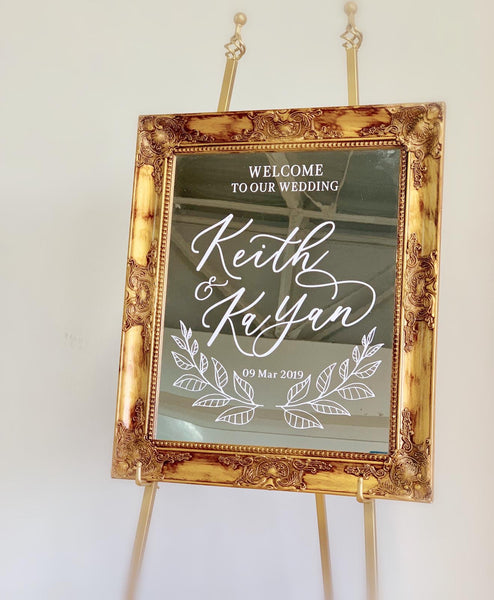 Gold victorian framed mirror welcome signage