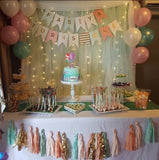 Pastel colour banner with gold customised words