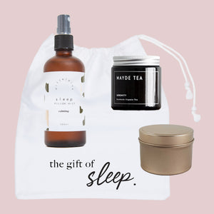 The Gift of Sleep Gift Bag Tired Mums Club Drawstring Bag Sleep Pillow Mist Serenity Mayde Tea Loose Leaf Candle Calming Relaxing