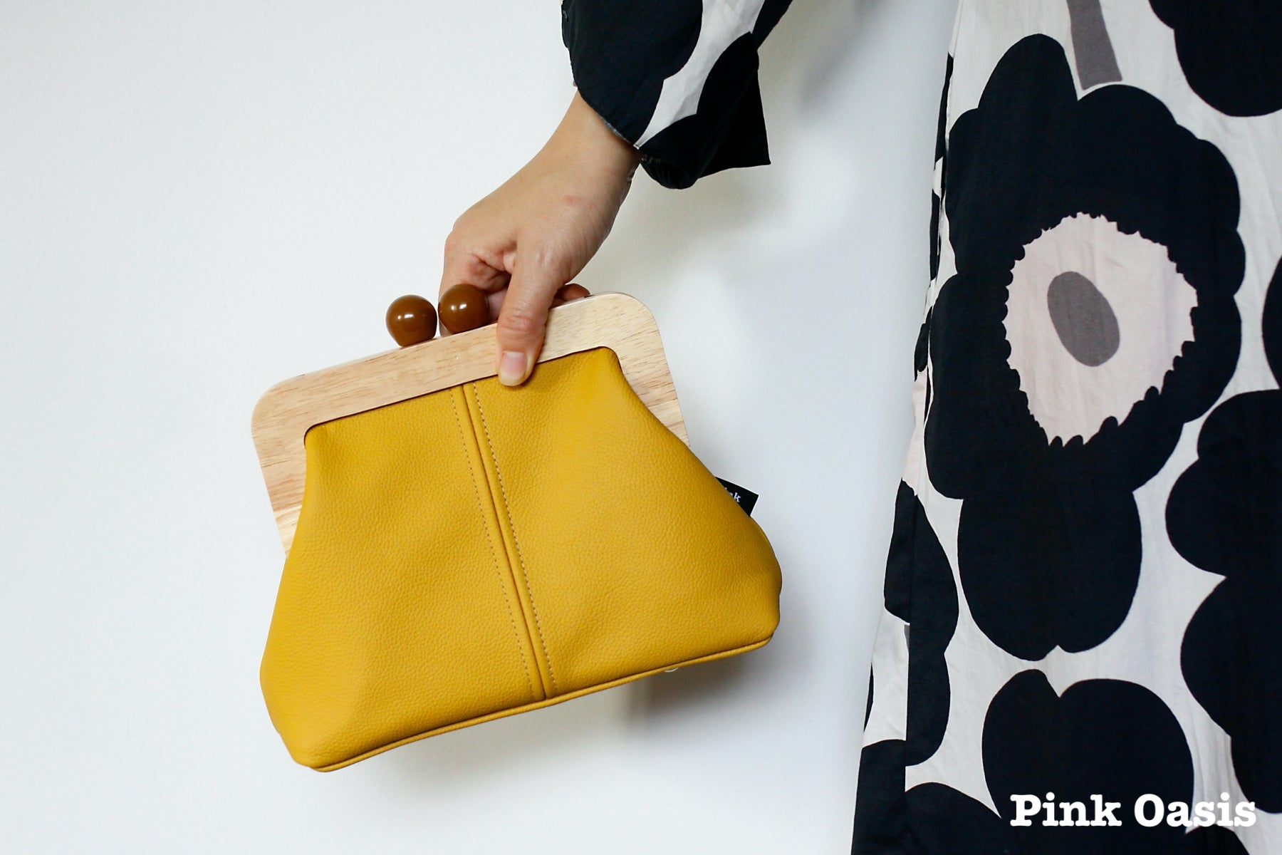 Mustard Color Leather Wood Frame Clutch | PINKOASIS