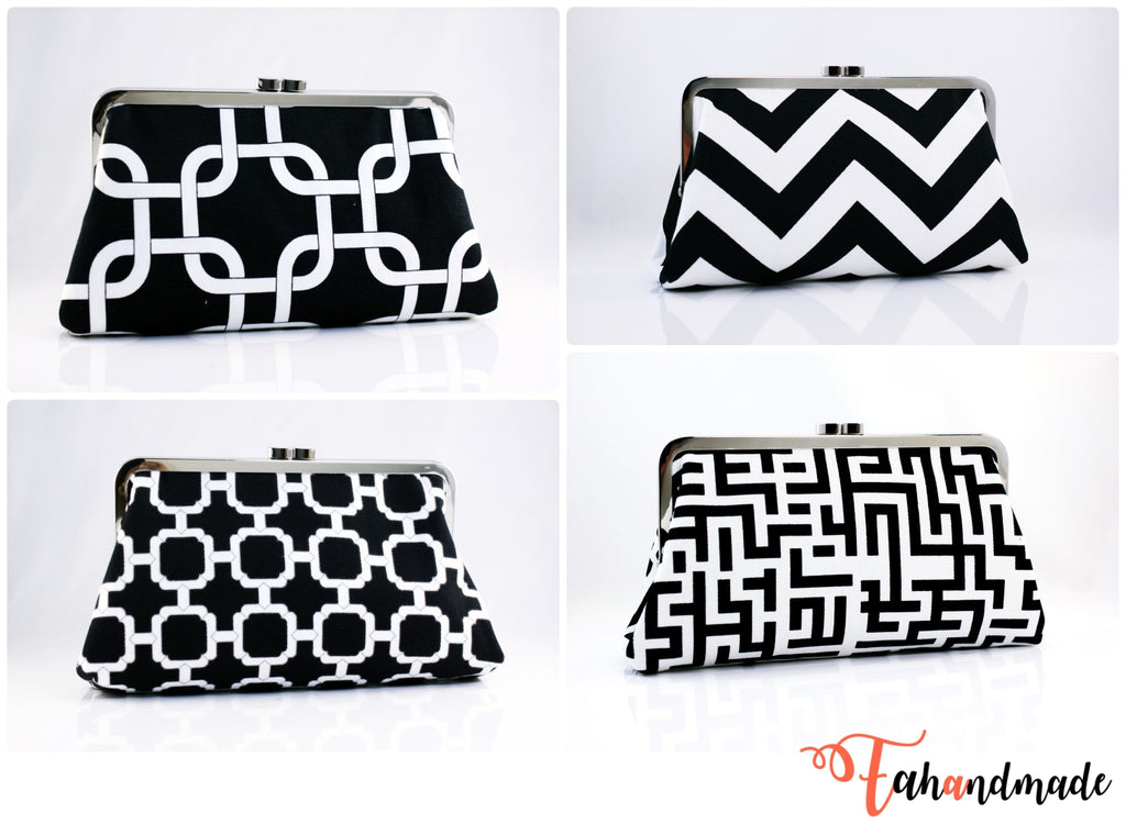 Black and White Bridesmaid Clutches for Wedding Party | PINKOASIS