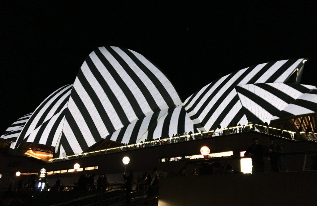 Black and White Stripes Shown on Opera House Vivid Sydney