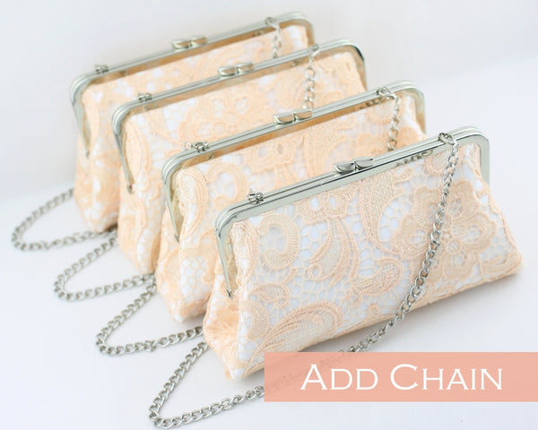 Blush Pink Lace Bridesmaids Clutches | PINKOASIS
