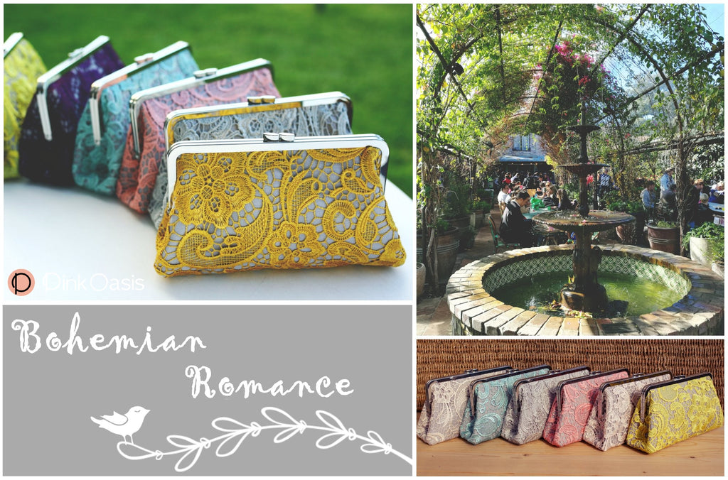 Bohemian Romance Lace Brdiesmaids Clutches for Wedding Gift | PINKOASIS