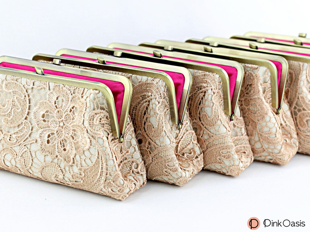 Rustic Stylish Champagne Lace Bridesmaids Clutches | PINKOASIS
