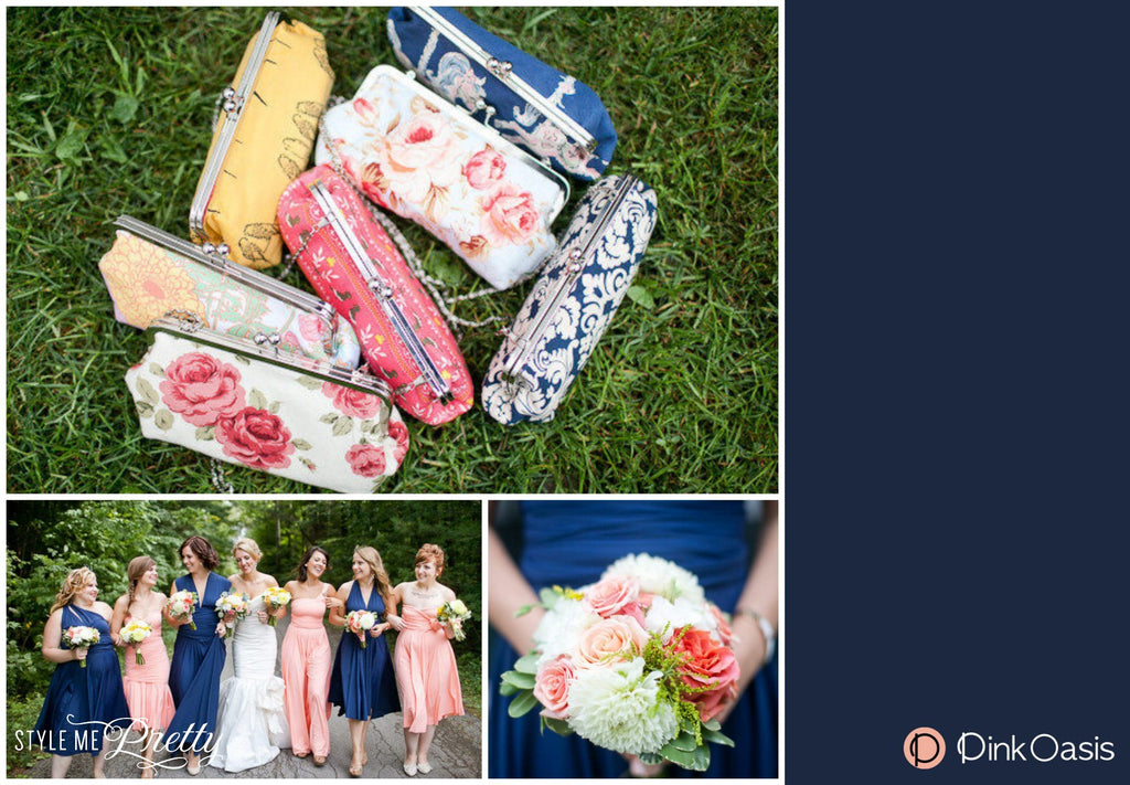 Customised Briesmaids Clutches featured on StyleMePretty | PINKOASIS