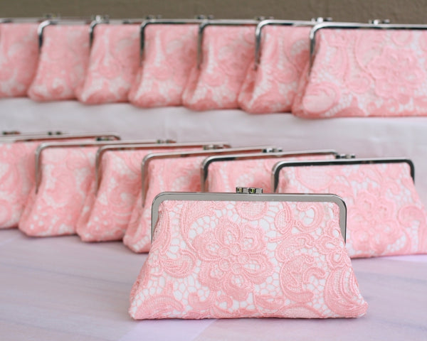 Pink Lace Bridal Clutches Monogram and Handmade | PINKOASIS