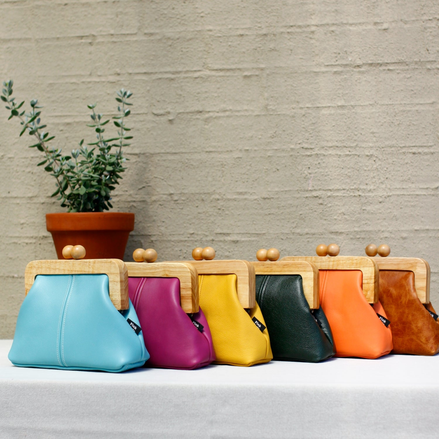 Handmade Genuine Leather Wooden Frame Bags | PINKOASIS