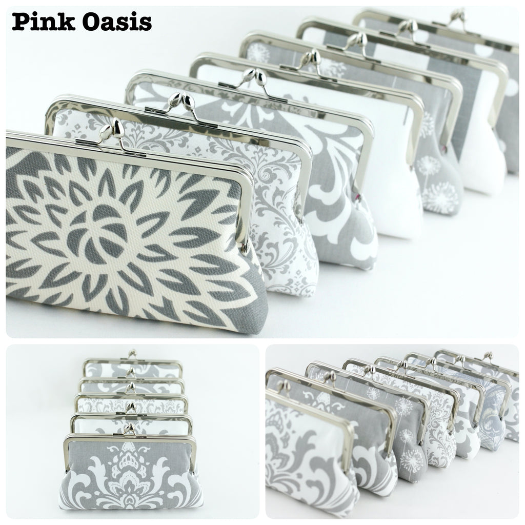 Handmade Grey Bridesmaid Clutches | PINKOASIS