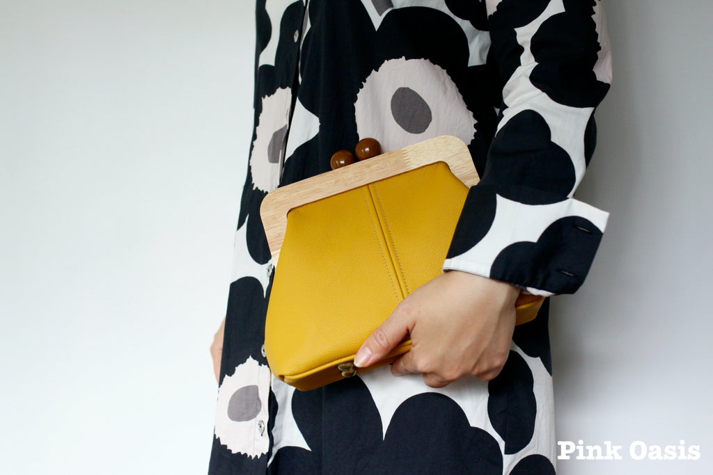 Mustard Leather Wood Frame Clutch | PINKOASIS