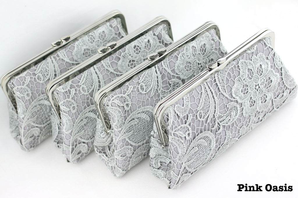 Handmade Grey Lace Bridesmaid Clutches | PINKOASIS