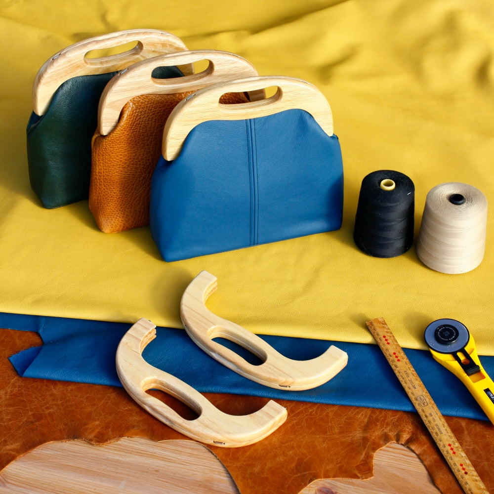 Handmade Leather Wooden Frame Bags | PINKOASIS