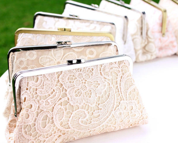 Personalised Luxury Lace Bridal Clutches | PINKOASIS