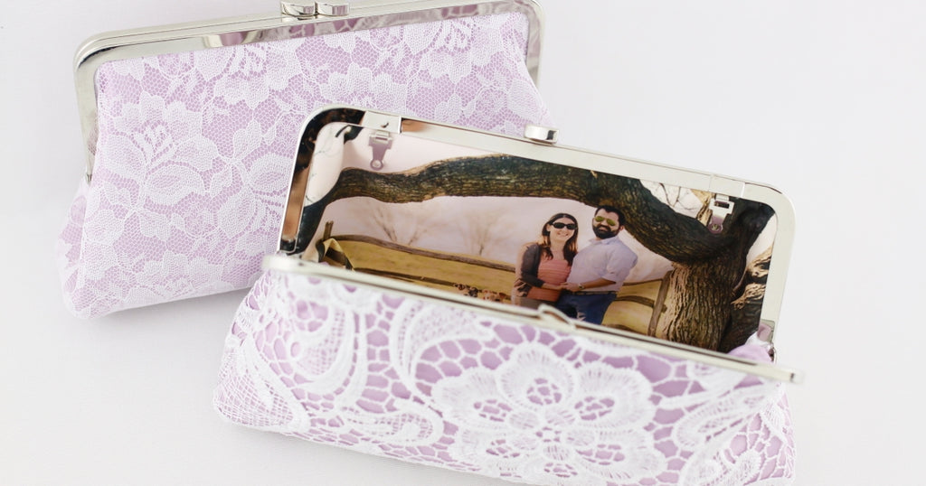 Lavender Lace Wedding Clutch, Photo Lining Clutch | PINKOASIS