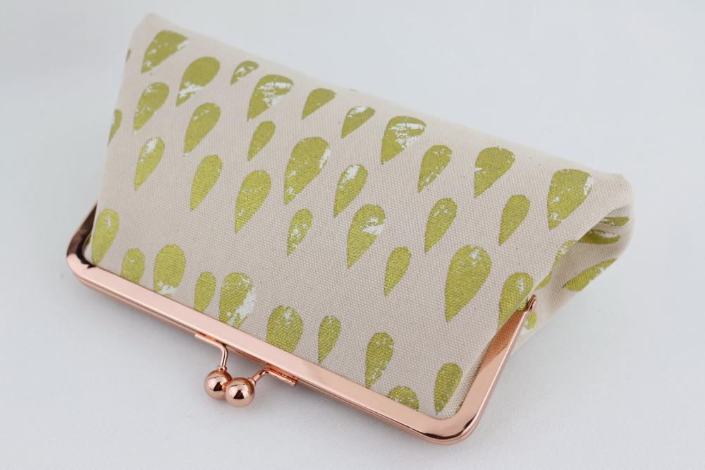Rose Gold Kisslock Clutch, Gold Teardrop on Blush Pink Clutch