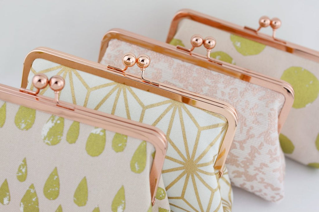 Rose Gold Kisslock Wedding Clutches