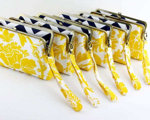 Lemon Yellow Damask Bridesmaids Clutches | PINKOASIS