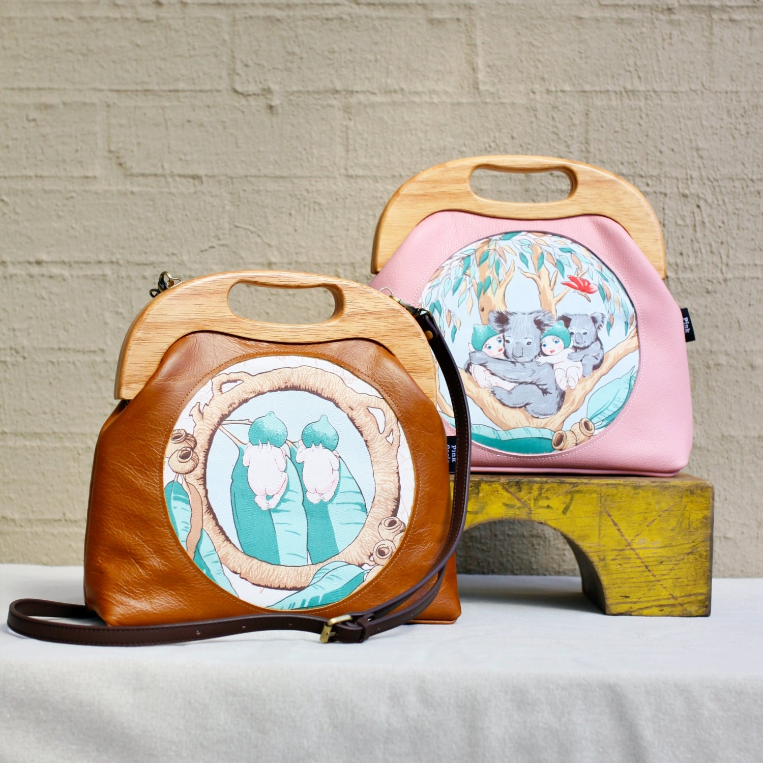 May Gibbs Leather Wood Frame Bags | PINKOASIS