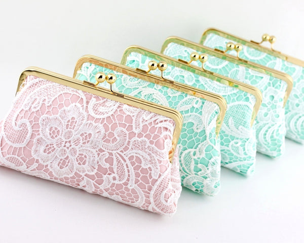 Monogrammed Mint Lace Bridal Clutches | PINKOASIS