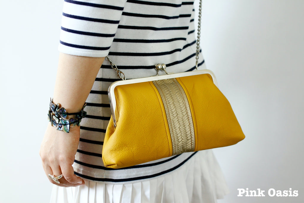 Handmade Mustard and Gold Leather Kisslock Clutch | PINKOASIS