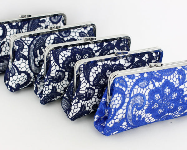 NAVY and Blue Lace Bridesmaids Clutches | PINKOASIS