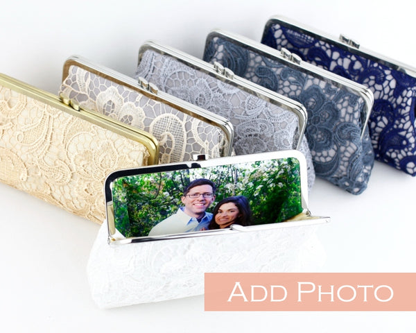 Personalised Photo Lace Wedding Clutch Gifts | PINKOASIS