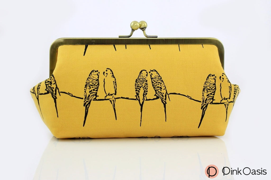 Yellow Parrot Songbird Makeup Clutch Bag | PINKOASIS