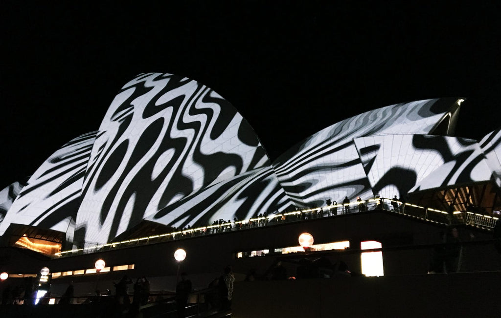 Zebra Pattern Shown on Opera House Vivid Sydney 2018