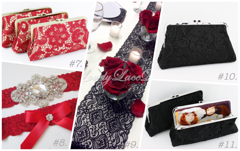Black & Red Lace Wedding Decoration and bridesmaids gifts