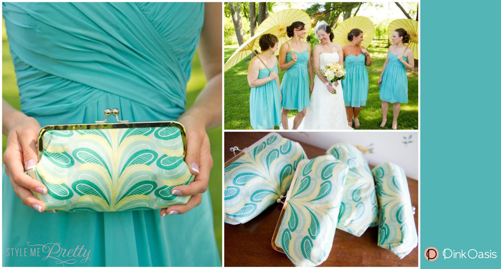 Teal and Yellow Leaf Patterned Briesmaids Clutches featured on StyleMePretty | PINKOASIS