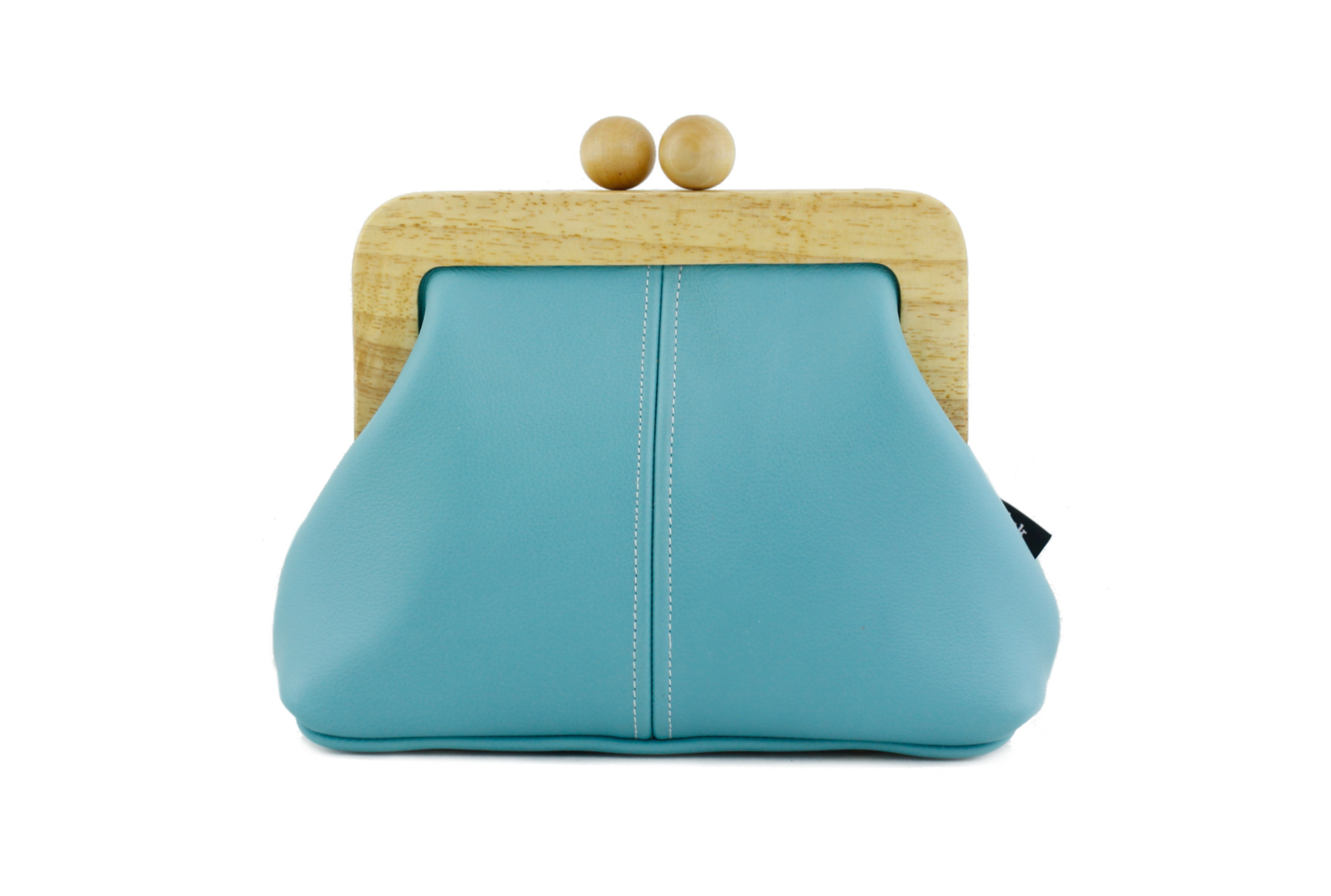 Aqua Blue Genuine Leather Clutch Bag with Strap | PINKOASIS