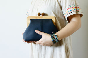 Navy Leather Clutch with Leather Strap | PINKOASIS