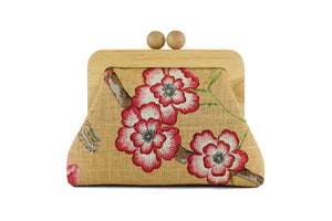 Handmade Rustic Flower Crossbody Clutch Bag  | PINK OASIS