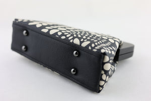 Black & White Dotted Flora Clutch Ladies Bag | PINKOASIS