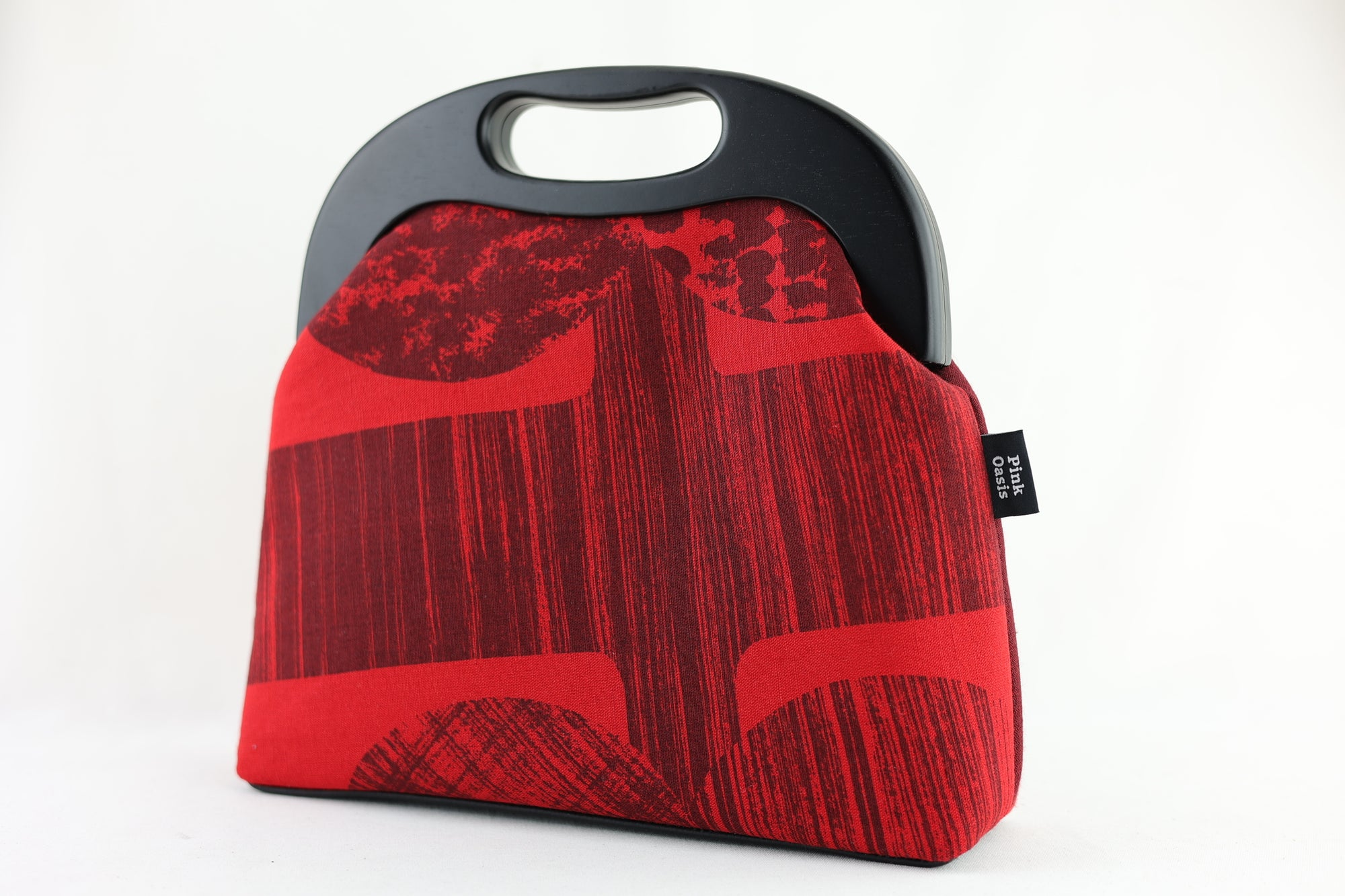 Abstract Red & Black Pattern Large Wood Frame Bag | PINK OASIS