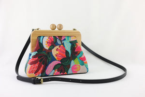 Protea & Bush Flowers Wooden Frame Bag with Leather Strap | PINK OASIS