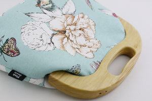 Flower & Bird Mint Blue Large Wood Frame Bag | PINKOASIS