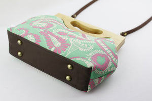 Green & Coral Paisley Medium Size Wood Frame Bag | PINKOASIS