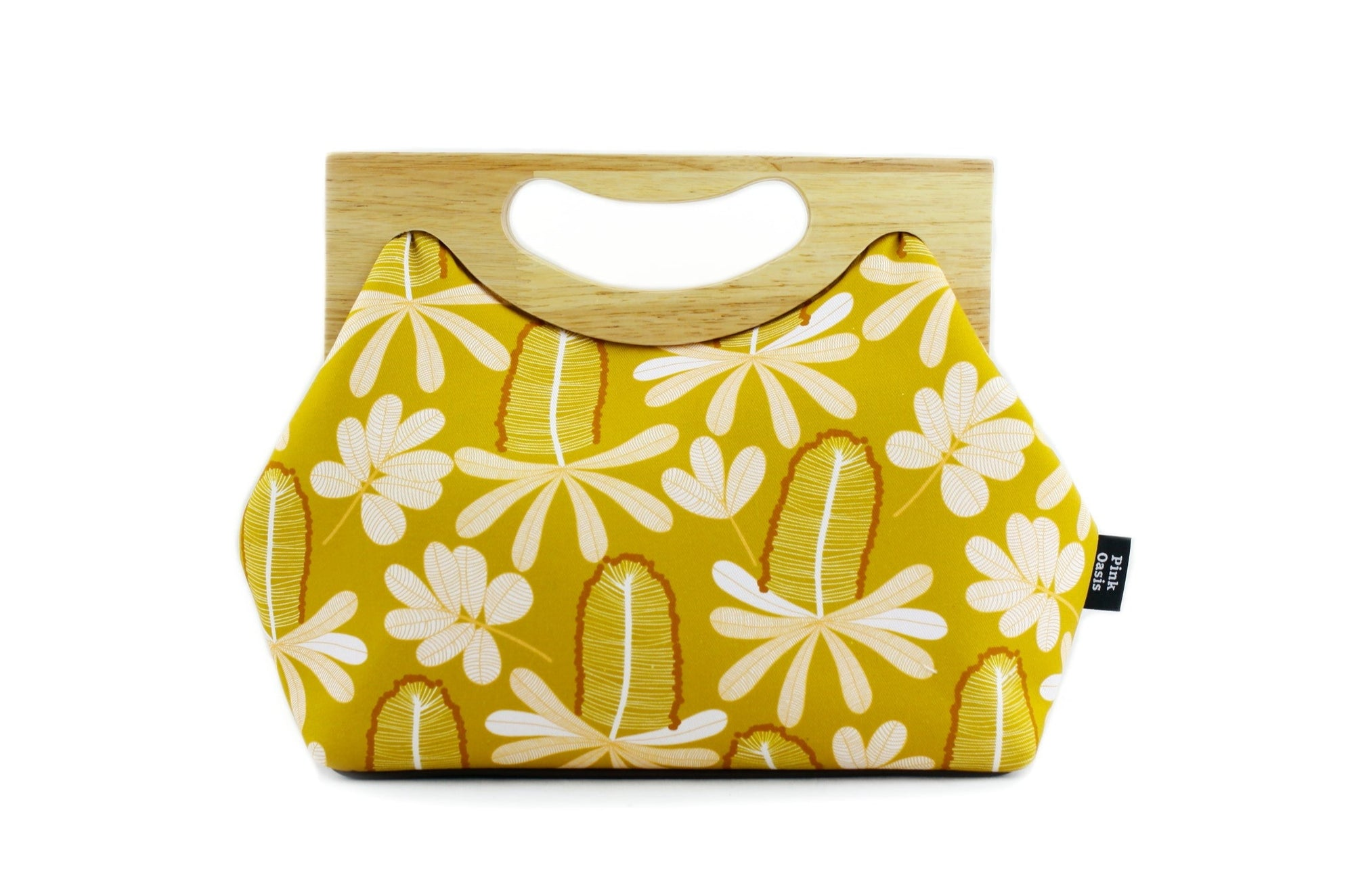 Banksia Mustard Medium Size Wood Frame Bag | PINKOASIS